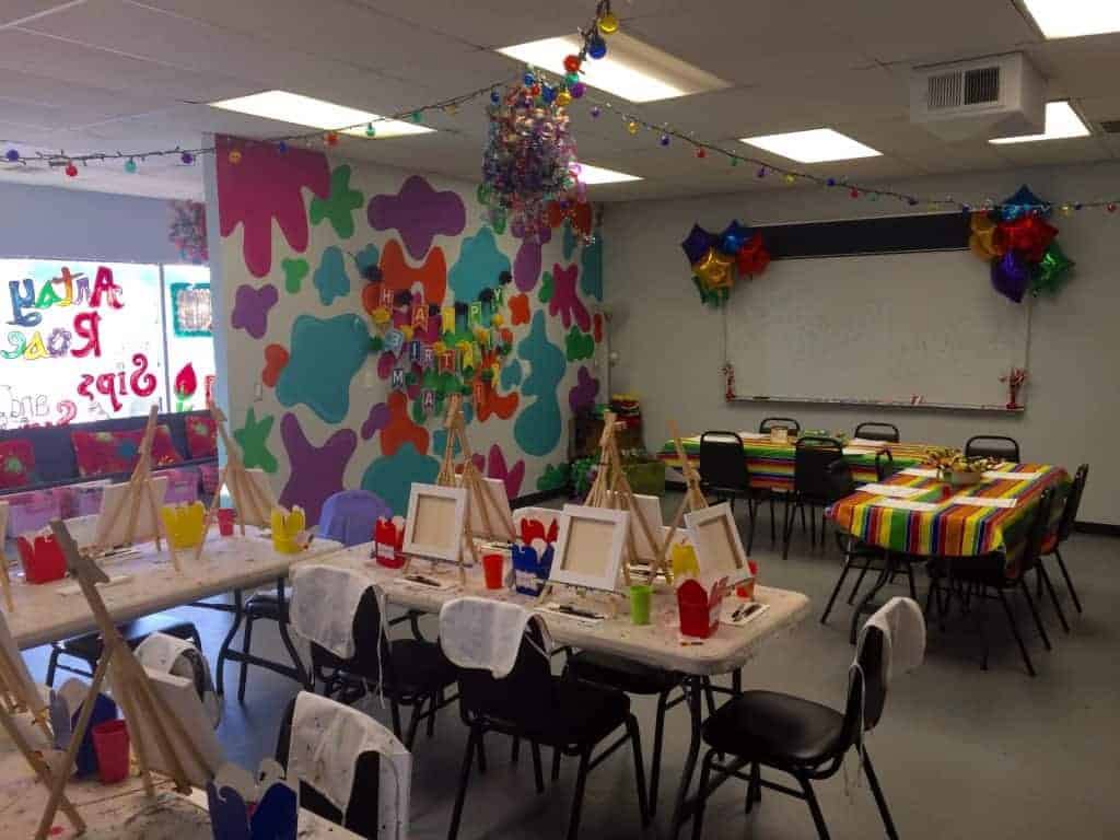 We can accommodate up to 20 artists for your birthday party.